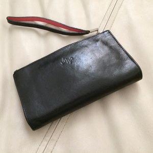 Woman's Black/Pink Leather Wristlet